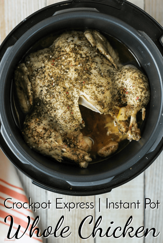 Whole chicken cooked in a Crockpot Express labeled with text: Crockpot Express Whole Chicken
