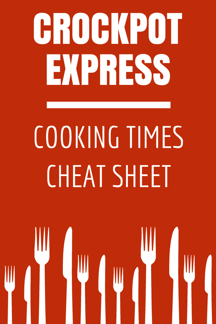 Download a free printable PDF listing general Crockpot Express Cooking Times guidelines for commonly served meats like beef, chicken and pork. Print it out and hang it up in your kitchen for easy reference!