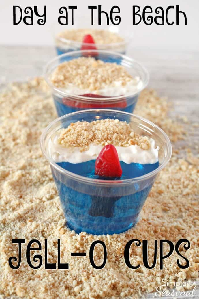 Day at the Beach Jello Cups are perfect for a summer party. The best part is once everyone is done eating the yummy treat, you can just throw away the dishes! Try them for your next luau or pool party. #PoolParty #EasyDessert #Jello  via @nmburk
