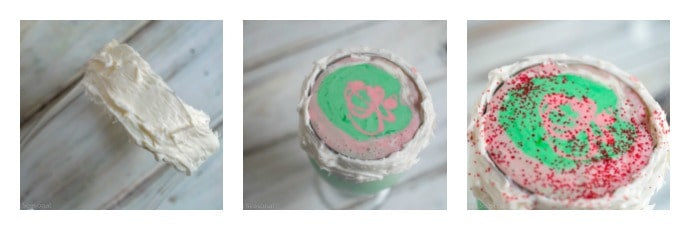 glass rimmed with frosting to hold sprinkles; glass filled with red and green shake mixture