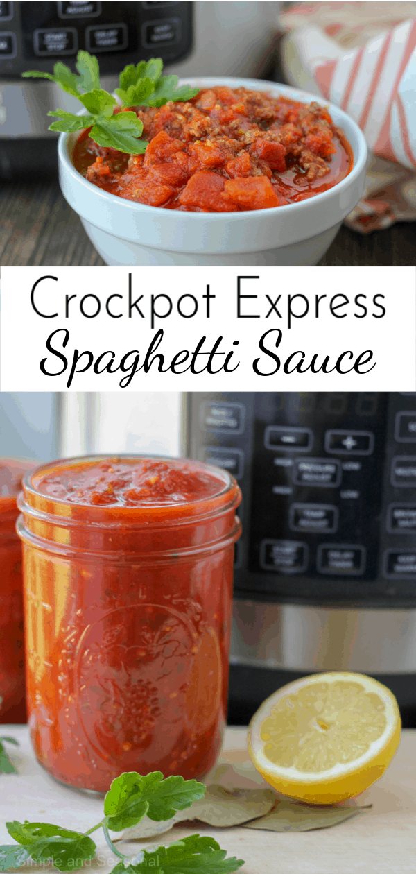 Enjoy a rich, bright sauce that tastes like it's been simmering all day when you make Crockpot Express Spaghetti Sauce! #CrockpotExpress #CPE #PressureCooker  via @nmburk