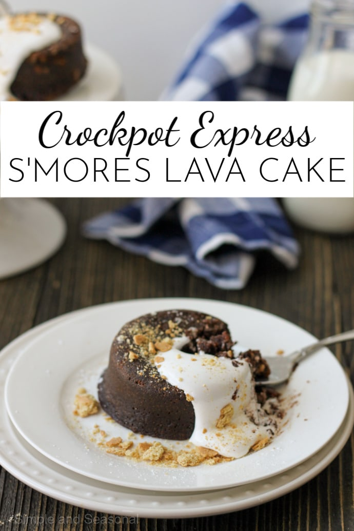 With a creamy, molten chocolate core, Crockpot Express S'mores Lava Cake is a decadent dessert that's surprisingly easy to make! via @nmburk