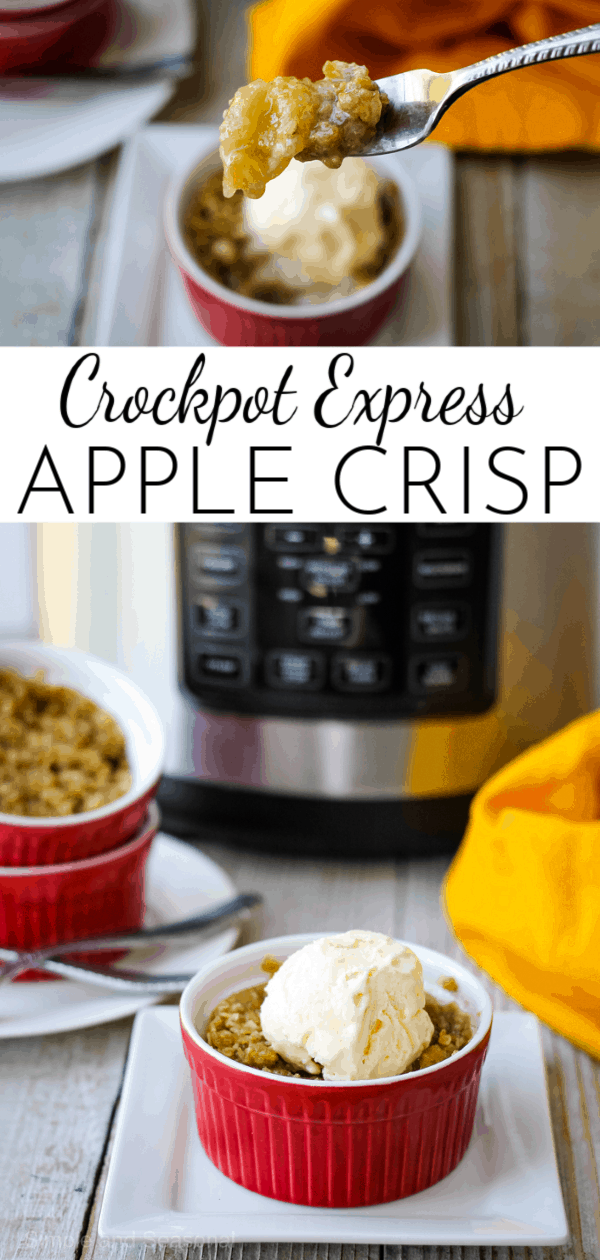 Skip the oven and make Crockpot Express Apple Crisp instead. The apples are perfectly cooked, creating a delicious sauce that's covered up with a buttery oat topping. via @nmburk