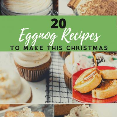 collage image of eggnog recipes
