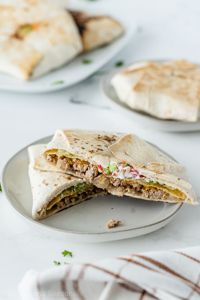 opened crunchwrap on a plate