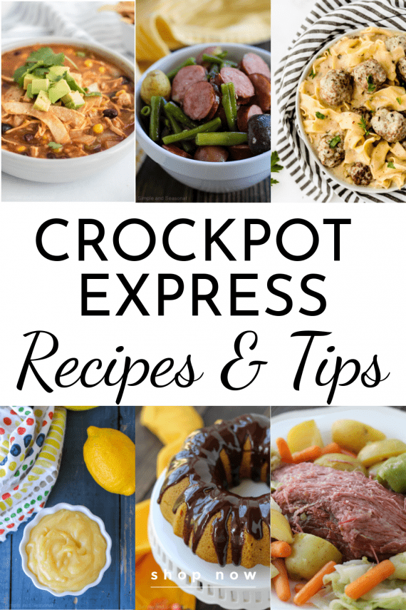 collage image of crockpot express recipes