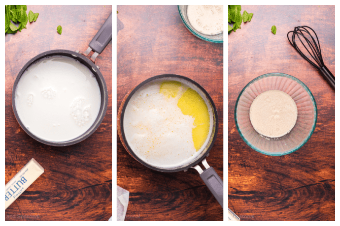 yeast proofing in a bowl and milk and butter mixing in a pot
