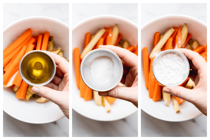 collage image showing oil, salt and then cornstarch added to the bowl of baked fries