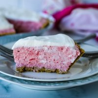closeup on slice of strawberry mousse pie