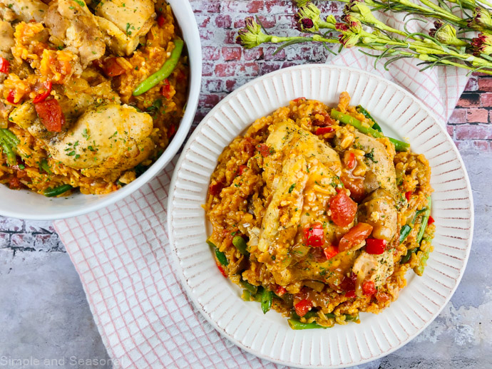 plate of slow cooker paprika chicken and rice