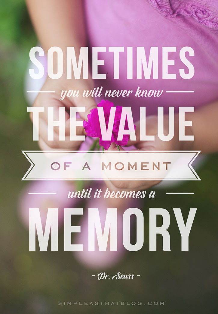The Value of a Moment   Printable Dr  Seuss Quote Dr  Seuss   Sometimes you will never know the value of a moment until it  becomes a memory