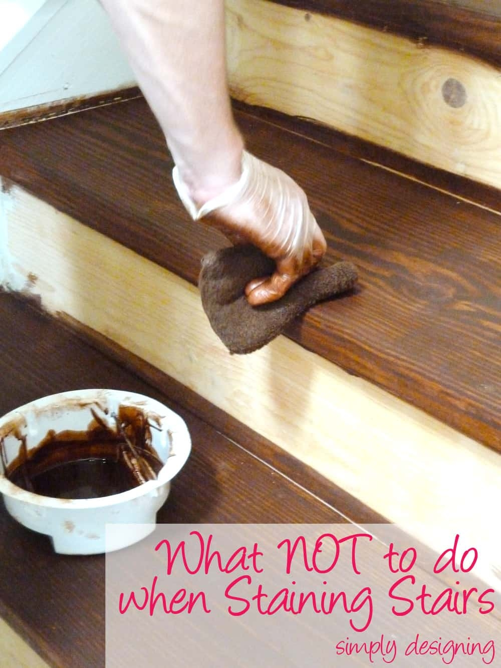 Staircase Make Over Part 2 Mistakes To Avoid And How To Do It Right | Staining Pine Stair Treads | Painting | White Pine | Wooden | Tile | Stained White Oak