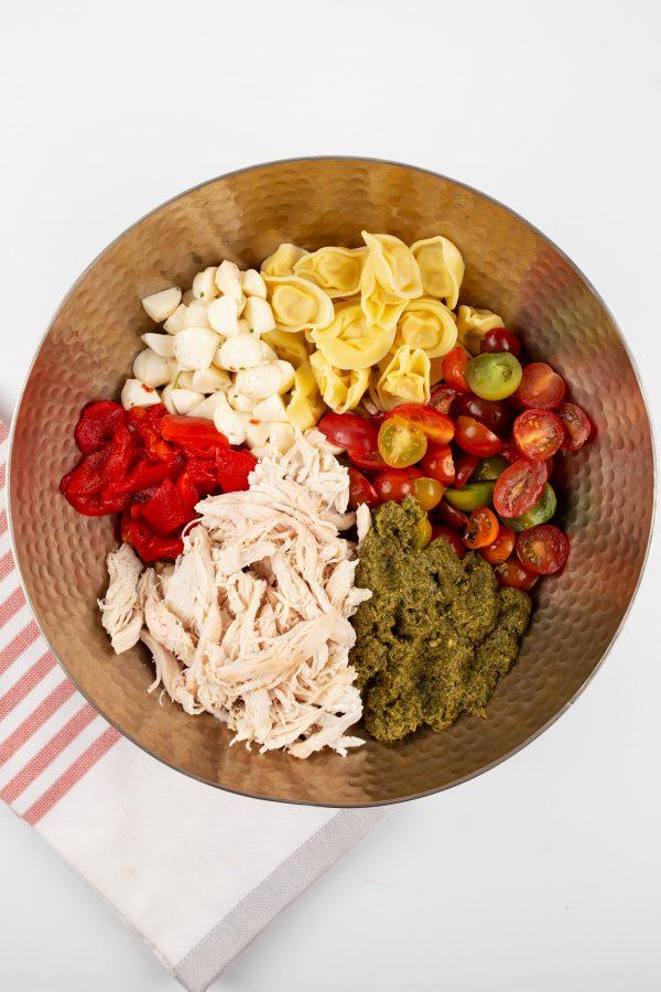 tortellini ingredients in a bowl