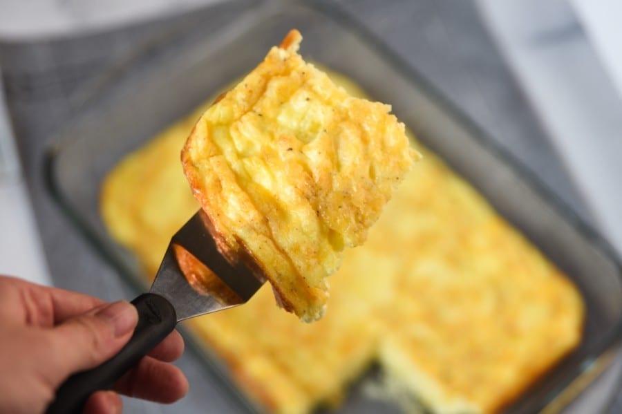 baked eggs on a spatula