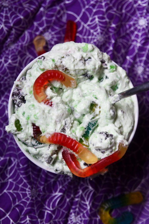 halloween jello salad with green jello