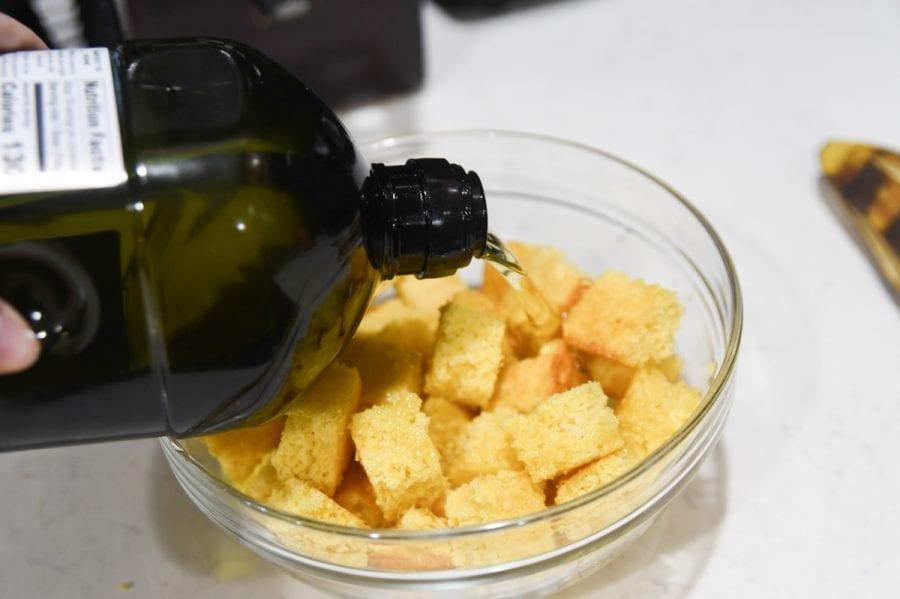 olive oil on cornbread