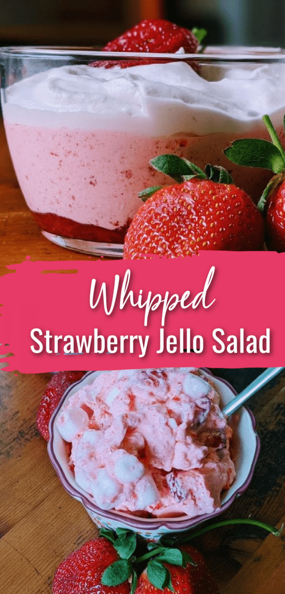 This strawberry jello salad with cool whip offers a fresh take on jello salad is a go-to side dish all spring and summer long! It's delicious, easy to make, and will please everyone at the dinner table. Our family loves this salad, and with three ingredients, it's a simple dish we can make for dinner or dessert all the time. via @simplysidedishes89