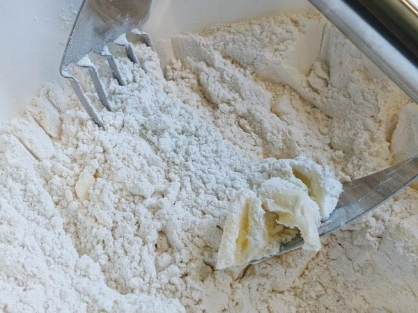 cutting butter into dough