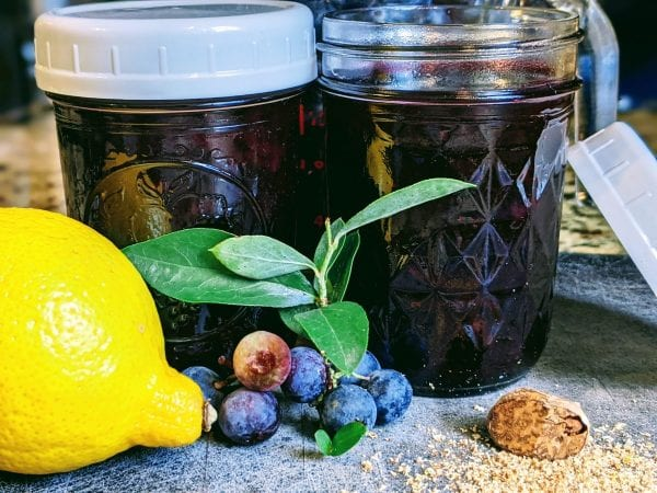 blueberry jam in jars with lemon and blueberries
