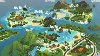 The Sims 4 Island Living: World Map, Icon, and Lot Sizes ...