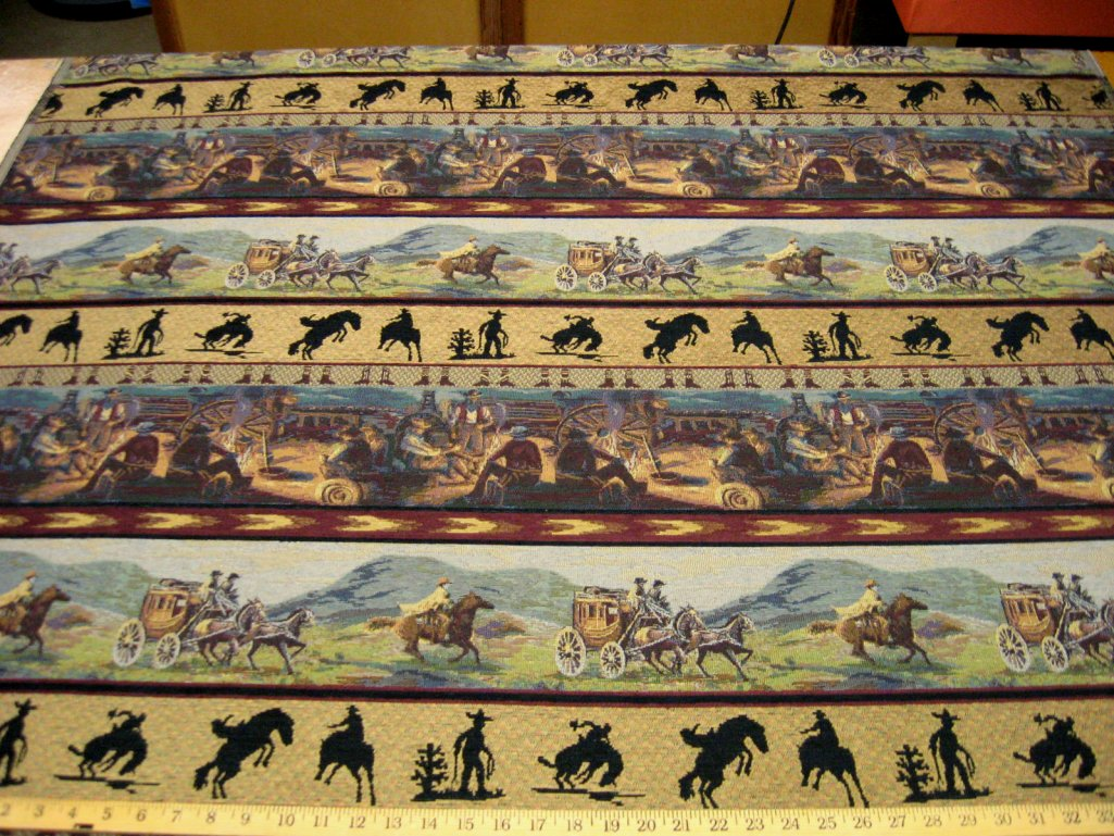 Cowboy Tapestry Upholstery Fabric