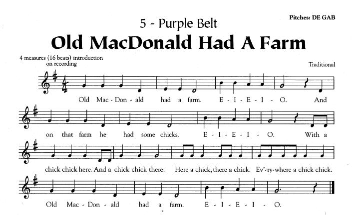Music Sheet Old Macdonald Recorder