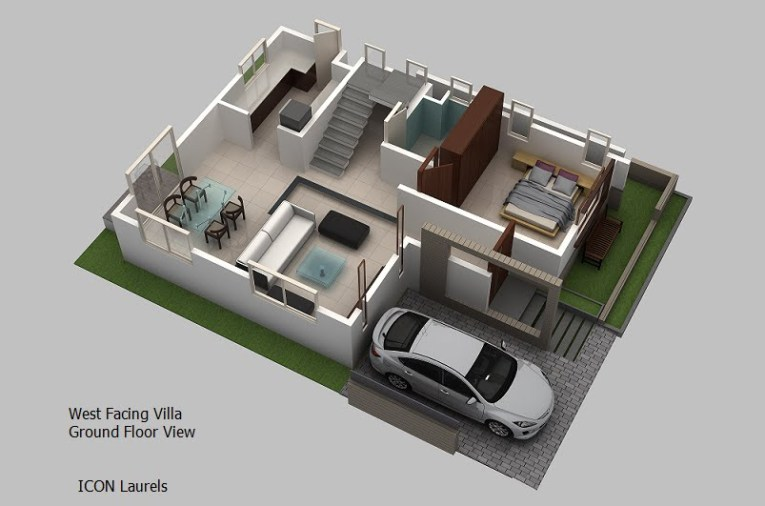 113 3d Duplex House Plans India   99124bhk duplex house design house         West facing plan 3 bhk duplex villas for 3d duplex house plans india