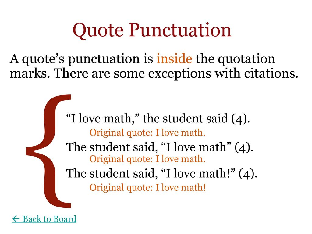 Punctuation Inside Quotes