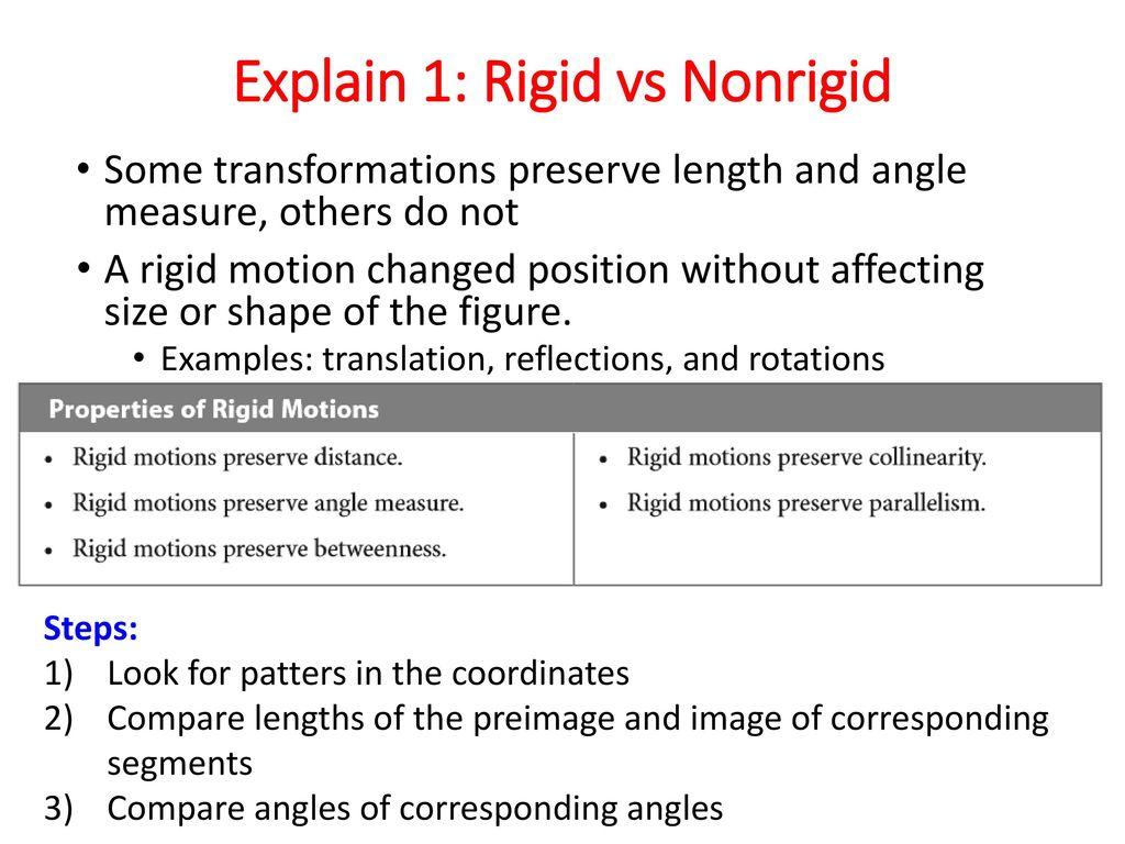 Properties Of Non Rigid Transformations