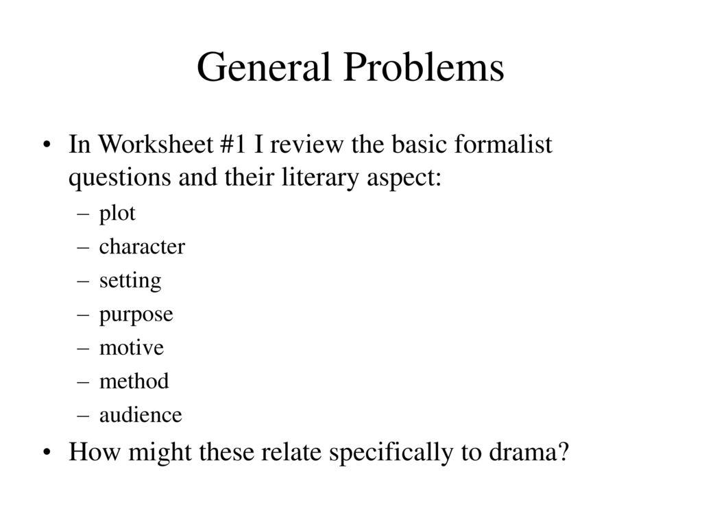 Gener L Problems W Ksheet 1 I Review B Sic M List