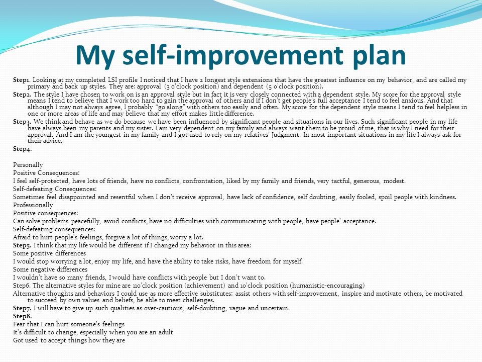Self Improvement Plan Work