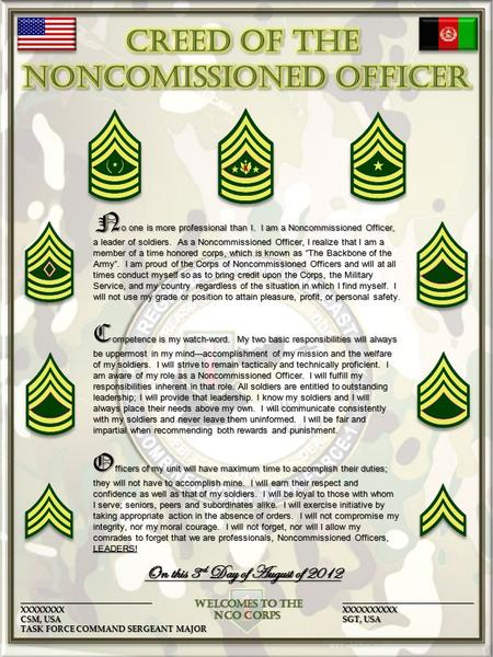 Army Nco Creed Certificate Poster