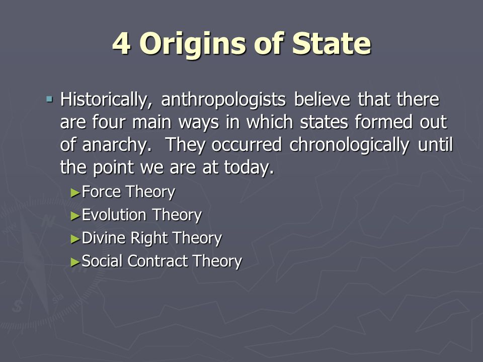 evolutionary theory of origin of state