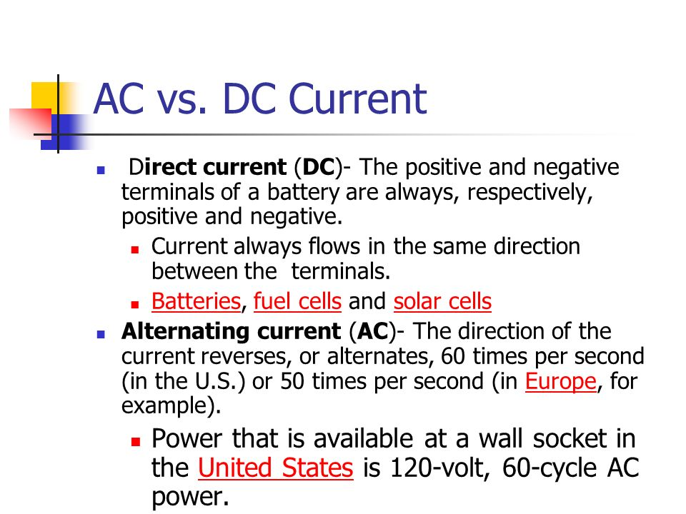 Ac Dc Current And Current Difference