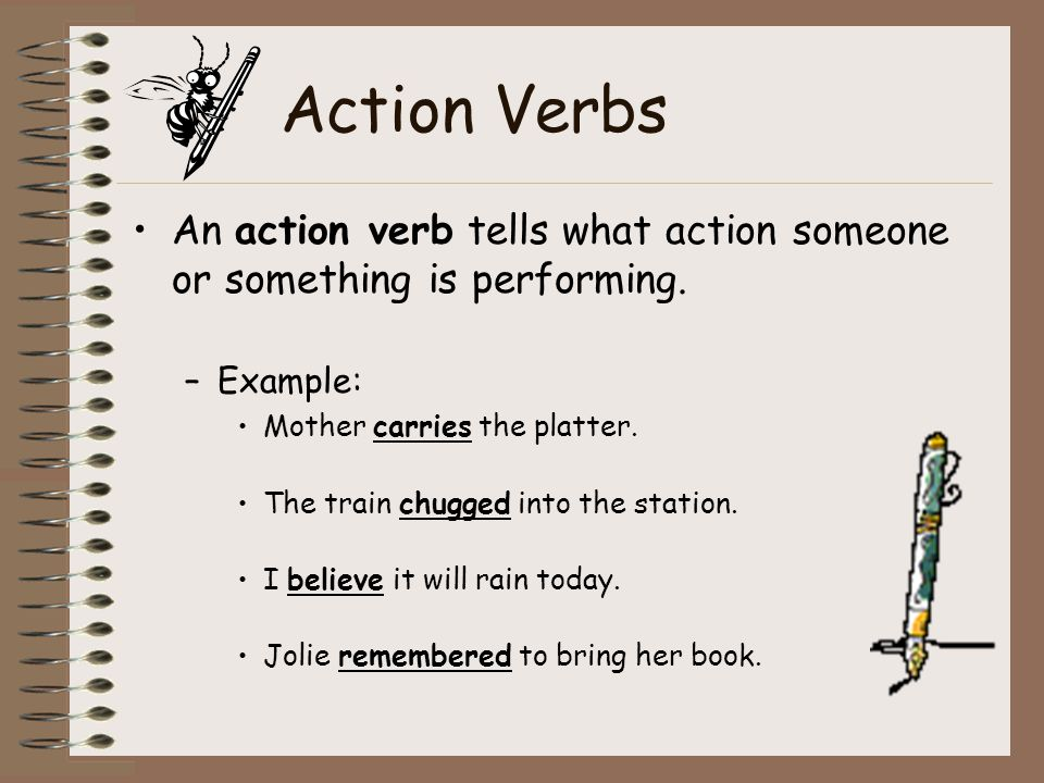 And Action Examples Verbs Definition