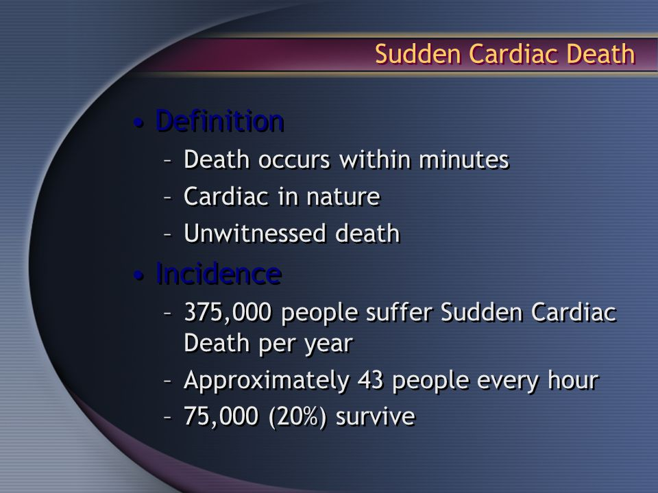 Definition Incidence Sudden Cardiac Death Death occurs ...