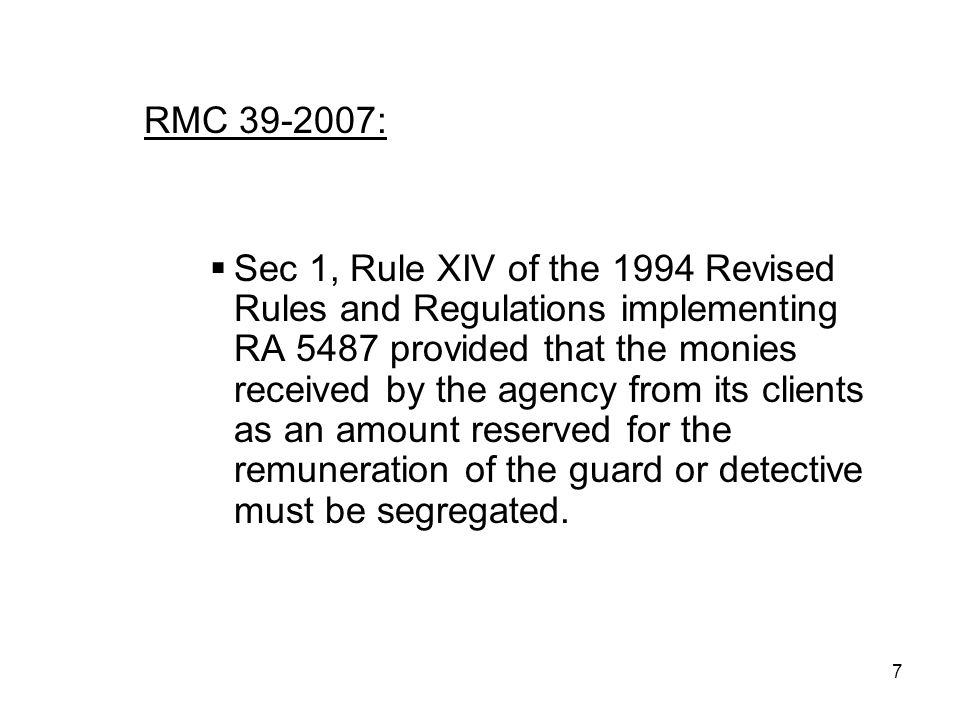 Private Security Agency Law Ra 5487
