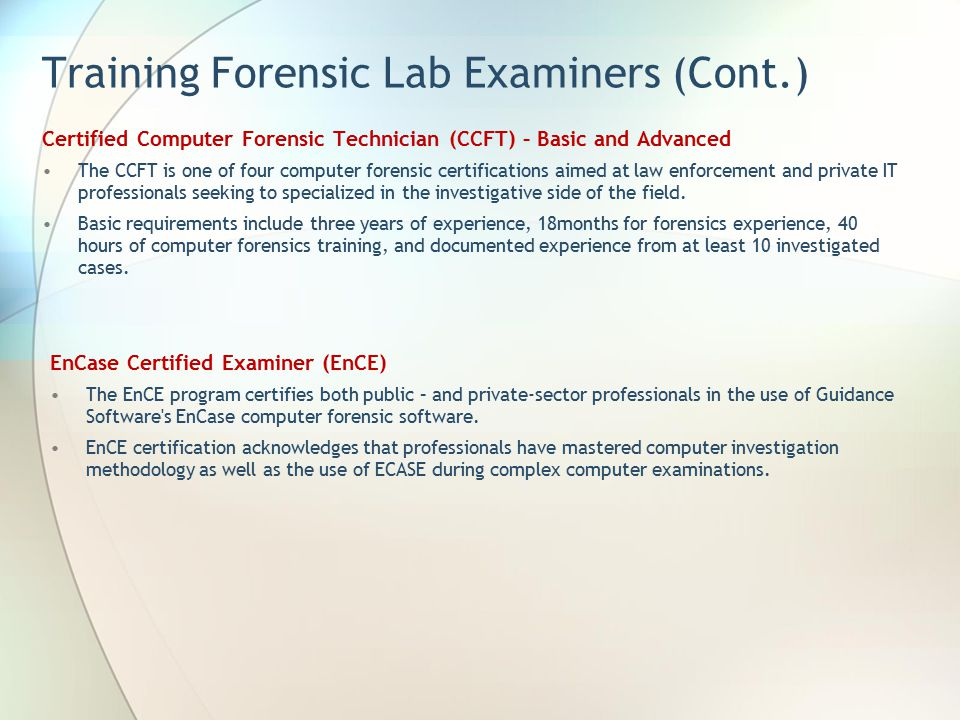 Computer Forensic Certification Lab