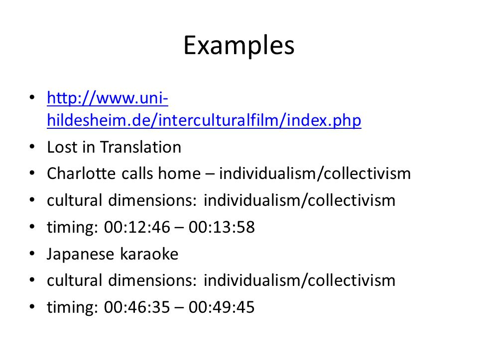 collectivism examples