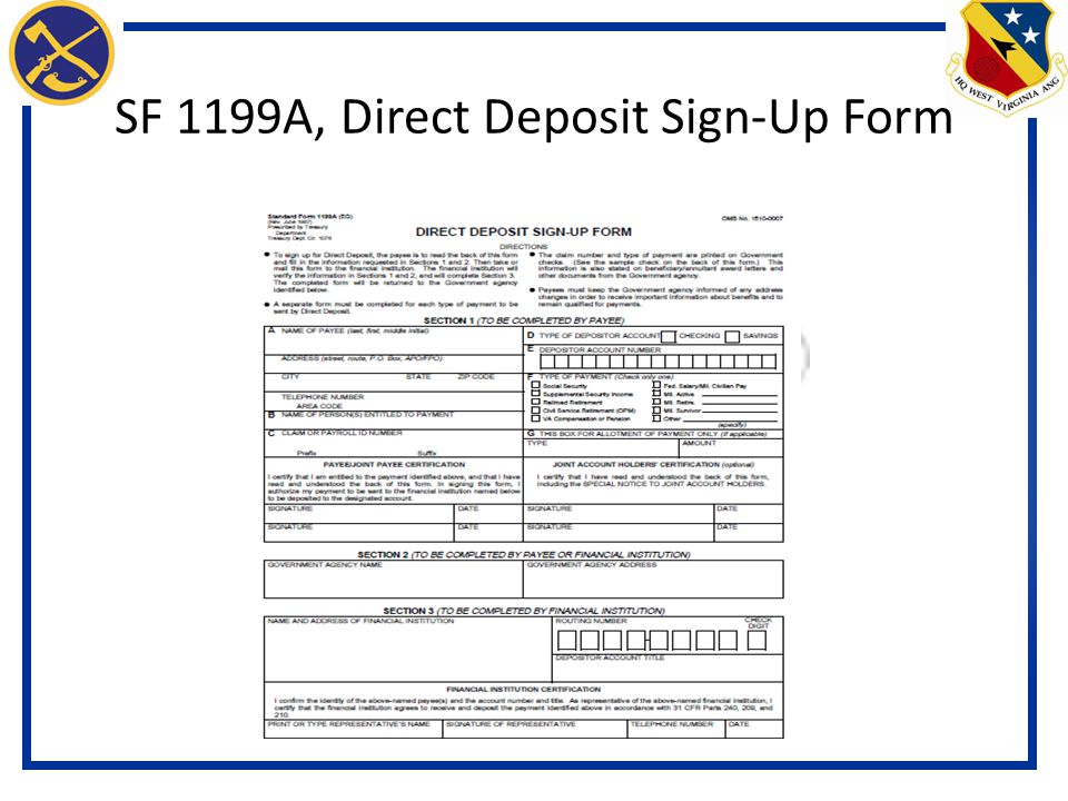 Standard Form 1199a Direct Deposit Signup Form Choice Image Free