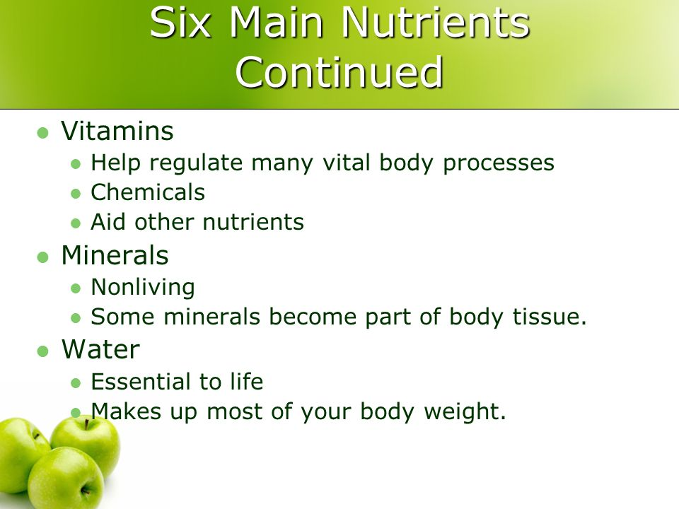 Nutrients What 6 Are Essential