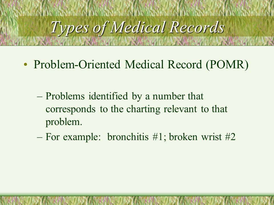Pomr Medical Record Example