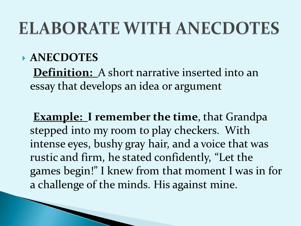 Narratives Examples Anecdotes And