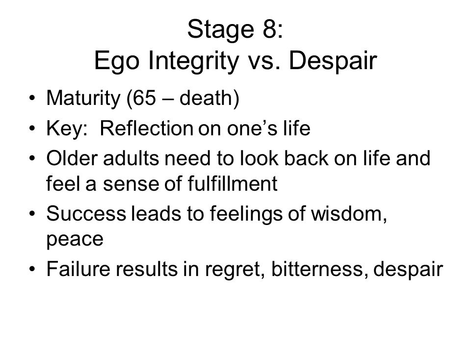 Ego Integrity 8 Vs Despair
