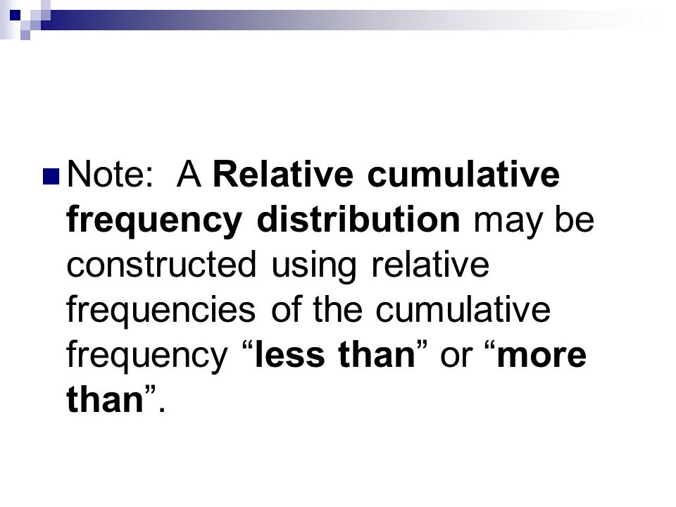 relative and cumulative frequency distribution