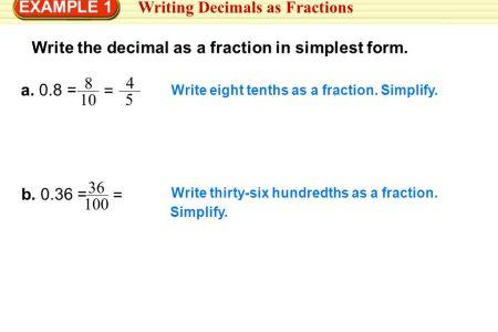 Free Standard Form Decimal To Fraction In Simplest Form Standard