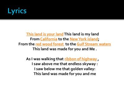 Woody Guthrie This Land Is Your Land Works Cited. - ppt ...