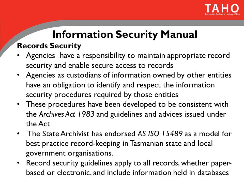 Information Manual Security Policy