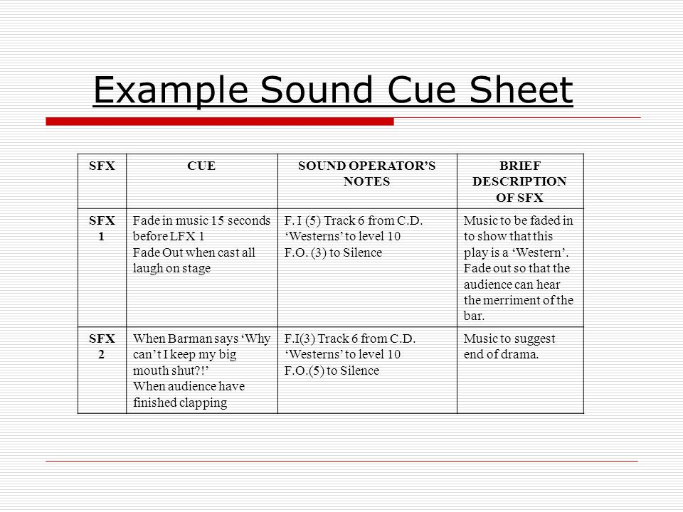 Stage Lighting Cue Sheet Example
