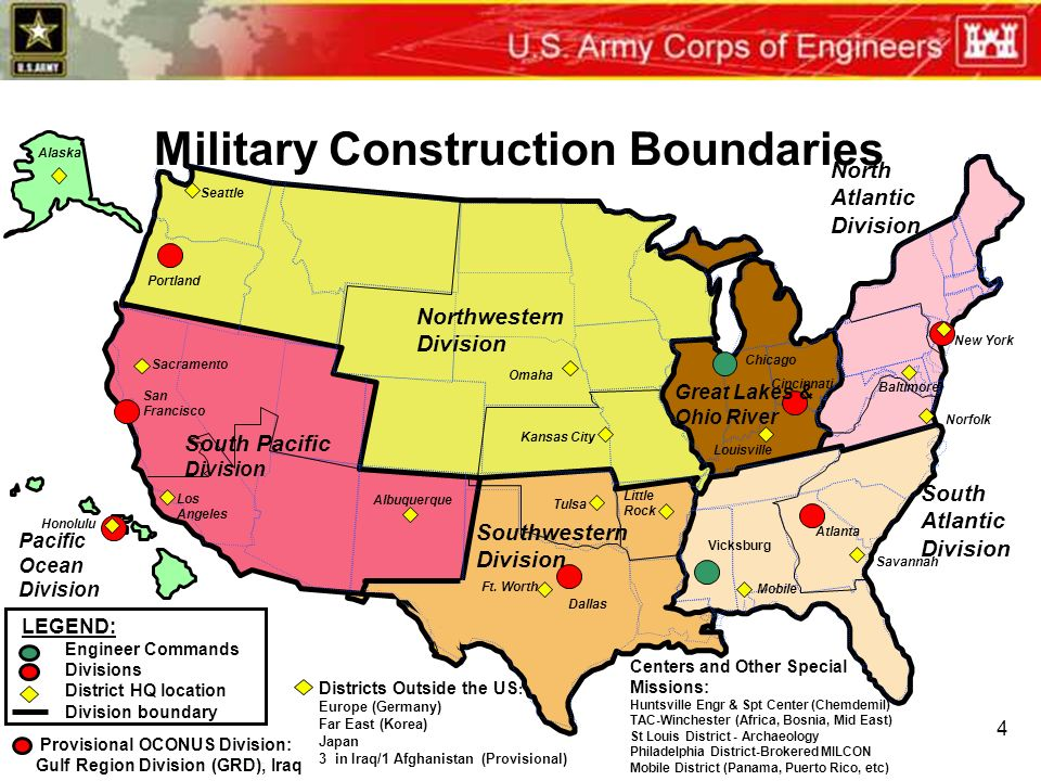 Army Corps Engineers Districts Map